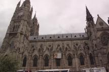 The Basilica of the National Vow, a Roman Catholic church in the historic center of Quito, Ecuador